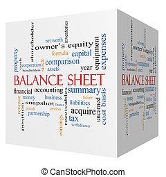 balance, 3d, cubo, palabra, nube, concepto