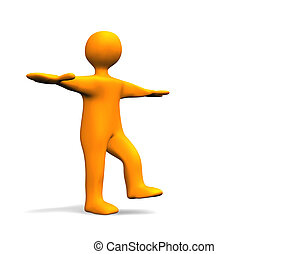 Balance - 3D illustration looks a humanoid person in orange...