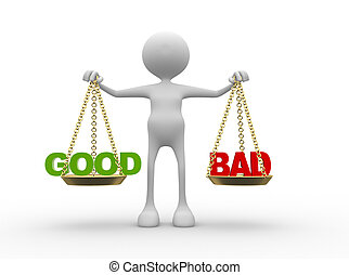Balance - 3d people - man, person with words good or bad in ...