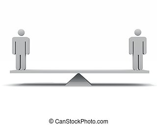 Balance - 3d render of 2 figures on a seesaw