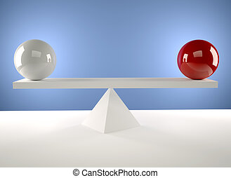 Balance - A white and a red sphere sitting in balance - 3d...