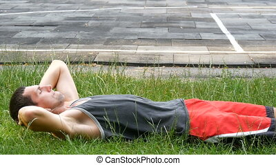 balance, abdominal, athlétique, haut, sports, muscles, field., jeune, presse, fin, homme, vue
