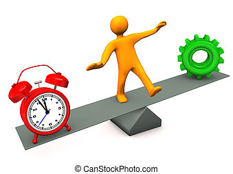 Balance Alarmer Gear - Orange cartoon character between time...