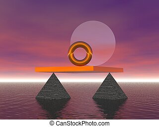 Golden ring in the sea aligned with the moon balanced on pyramids