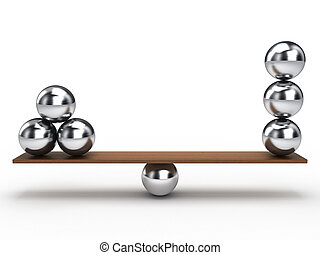 Balance ball - Balancing balls on wooden board