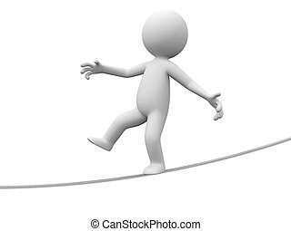 A 3d person walking on a balance beam