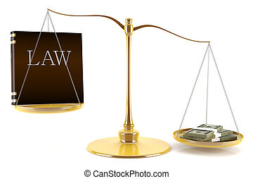 Balance between law and money - 3d render of balance between...