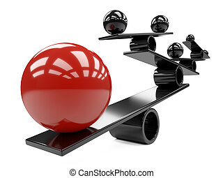 Balance between many large red and smaal black spheres - concept image.