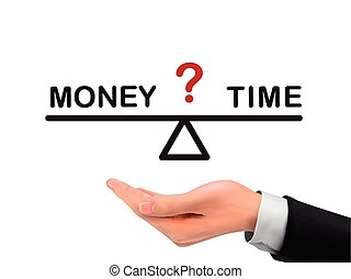 balance between time and money holding by realistic hand