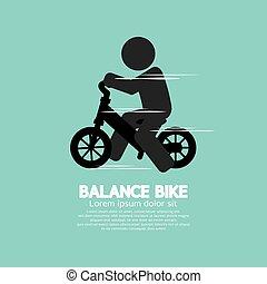 Balance Bike Black Symbol Vector Illustration