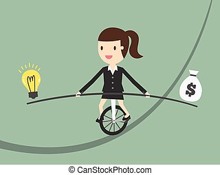 balance - Business woman balancing on the rope with ideas...