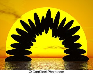 Balance by sunset - 3D render