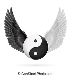 Balance - Traditional Chinese Yin-Yang symbol with black and...