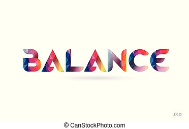 balance colored rainbow word text suitable for logo design