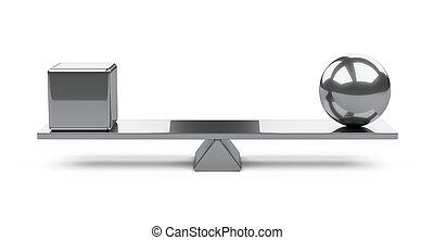 Balance concept - box and ball on a board.