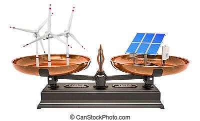 Balance concept, solar panels or wind turbines. 3D rendering