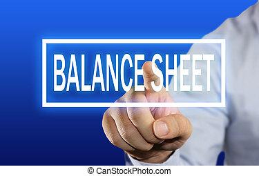 balance, concepto, hoja