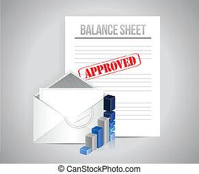 balance, concepto, hoja, aprobado, ilustración