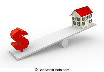 Balance - A house and dollar sign in the balance. 3d render