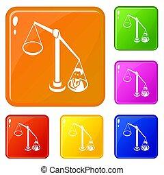 Balance election icons set color