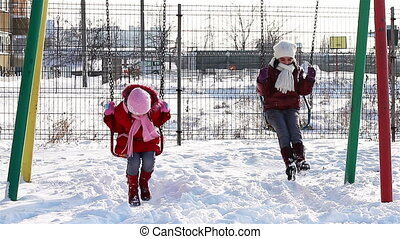 balance, filles, hiver