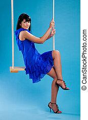 balance, girl, bleu, séance, robe