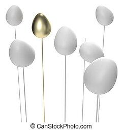 Balance: golden egg keeping equilibrium isolated on white
