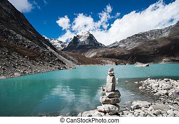 balance:, himalayas, see, harmonie, heilig, kiesel, stapel