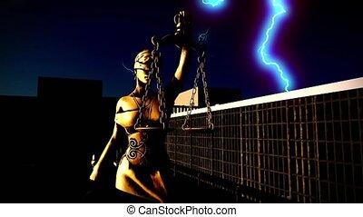 balance justice, dame, épée, prison