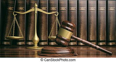 balance justice, marteau, et, droit & loi, books., 3d, illustration
