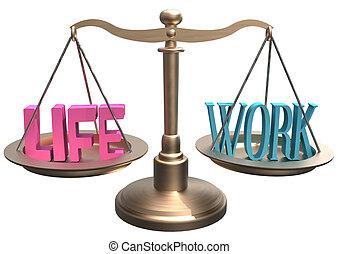 Balance Life Work harmony on scales