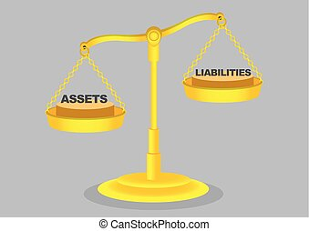 Balance of Assets and Liabilities on Golden Weighing Scale...