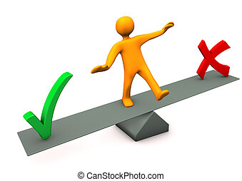 Balance Right False - Orange cartoon character between right...