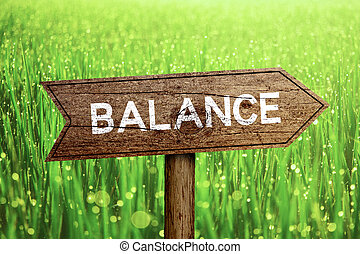 Balance wooden roadsign with beautiful natural background.