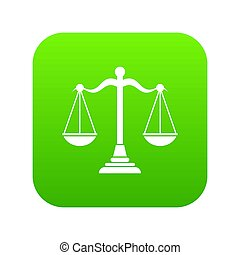 Balance scale icon digital green