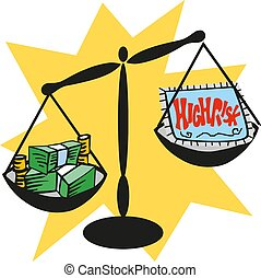 Balance scale with cash money. high risk concept. vector illustration eps 10