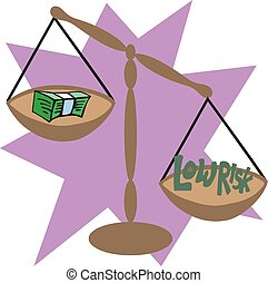 Balance scale with cash money. Low risk concept. vector illustration eps 10