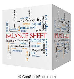 Balance Sheet 3D cube Word Cloud Concept with great terms...