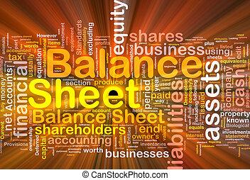 Balance sheet background concept glowing - Background...