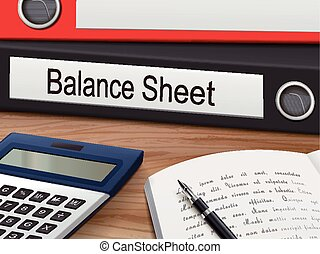 balance sheet binders isolated on the wooden table. 3D...