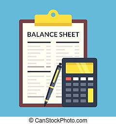 Balance sheet, calculator and pen. Flat design. Vector...