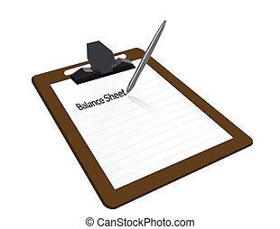 Balance sheet clipboard