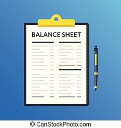 Balance sheet. Clipboard with financial statement, financial...