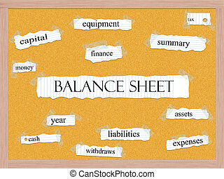 Balance Sheet Corkboard Word Concept with great terms such...