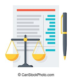 Balance Sheet Icon - Balance sheet report with scales and...