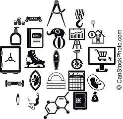 Balance sheet icons set, simple style - Balance sheet icons...