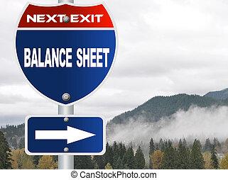 Balance sheet road sign