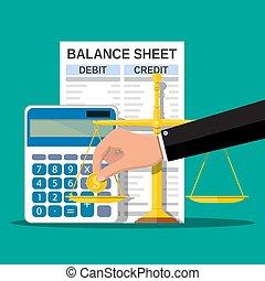 Balance sheet with calculator, coin, scales - Balance sheet...