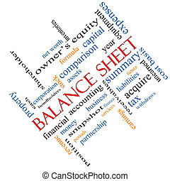 Balance Sheet Word Cloud Concept angled with great terms such as financial, assets, tax and more.