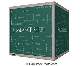 Balance Sheet Word Cloud Concept on a 3D cube Blackboard...